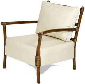 Poltrona Vernon Assento Estofado cor Branco com Base Madeira Apui - 44846 Sun House