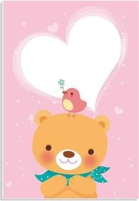 Placa de Bancada Decorativa Ursinho, Pássaro e Coração 30x20cm