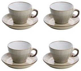 Jogo Xícaras Para Chá 4 Peças Com Pires Cerâmica Branco 200ml 27832 Bon Gourmet