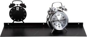 Prateleira Despertador Preta em Ferro - Urban - 45x16 cm