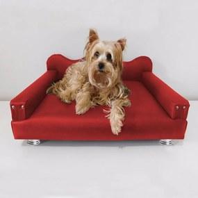 Cama Sofá Pet Meg Para Cães E Gatos Elegante e confortável Courino Vermelho