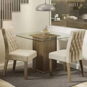 Conjunto Sala de Jantar Madesa Cassia Mesa Tampo de Vidro com 2 Cadeiras Rustic/Imperial Cor:Rustic/Imperial