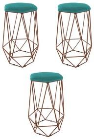 Kit 3 Banquetas Aramado Eiffel Hexágono Bronze Assento Suede Azul Tiffany