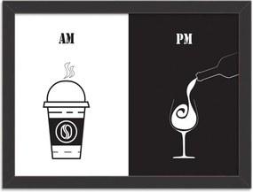 Quadro Decorativo AM Café PM Vinho Preto - Médio