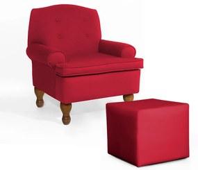 Conjunto Poltrona Vovó Lucy Decorativa + Puff Ana Suede Vermelho