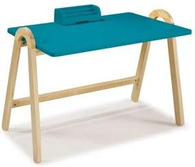 Escrivaninha com Porta Objetos Ringo - Natural/ Laca Azul