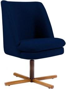 Poltrona Decorativa Giratória Base X Pérsia Veludo Azul Marinho B-287 - Lyam Decor