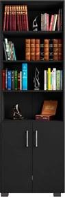Estante de Livros para Escritório Home Office Portas Pequenas Alf Preto Texturizado - Gran Belo