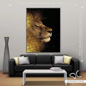 Quadro Leão Brilho Dourado - Gigante 185cm x 140cm, Tela + Moldura Prata