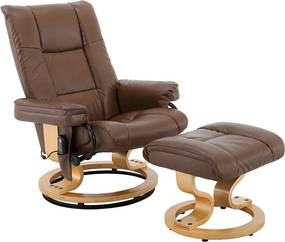 Poltrona de Massagem Tustin Elétrica Reclinável Giratória PU Marrom Vintage- Gran Belo