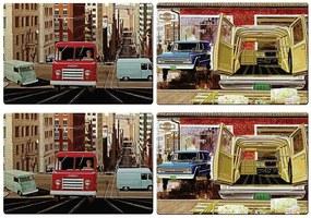 Jogo Americano GM Old Trucks Coloridos - 4 Peças - em PVC - Urban