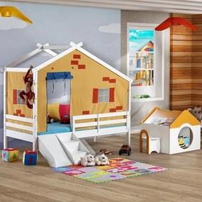 Cama Infantil Prime c/ Telhado V, Escorrega/ Grade de Proteção e Tenda Madeira Maciça - Casatema
