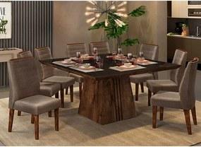 Mesa de Jantar Paris 140cm Rústico Malbec Preto + 8 Cadeiras Curvata Veludo Moca