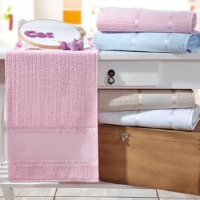 Toalha Lavabo Ponto Russo Rosa Kit com 6 Unidades
