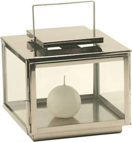 Lanterna Decorativa de Vidro e Aço Inox Steel Quadrada