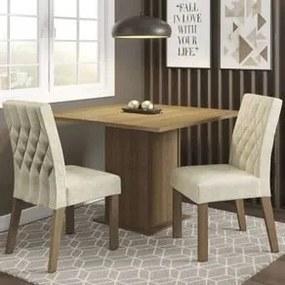 Conjunto Sala de Jantar Madesa Maju Mesa Tampo de Madeira com 2 Cadeiras Rustic/Imperial Cor:Rustic/Imperial