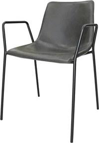 Cadeira Rústica Vintage Cinza C/Apoio em Metal e Couro Ecológico