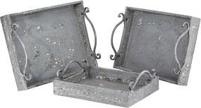 Conjunto com 3 Bandejas Envelhecidas Cinzas