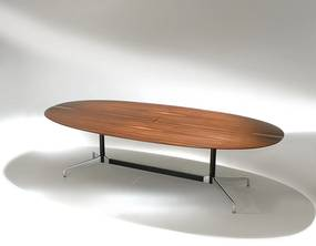 Mesa de Jantar Segmentada Oval 2 Colunas Alumínio e Aço Studio Mais Design by Charles e Ray Eames