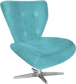 Poltrona Decorativa Tathy Suede Azul Turquesa com Base Estrela Aço Cromado  - D'Rossi.