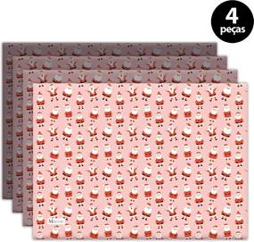 Jogo Americano Mdecore Natal Papai Noel 40x28 cm Rosa 4pçs