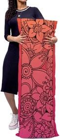 Almofada Gigante Mdecore 130x46cm Arabesco Flores Vermelho