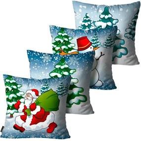 Kit com 4 Capas para Almofadas Premium Cetim Mdecore Natal Papai Noel Azul45x45cm