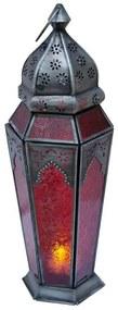 Lanterna Indiana Vidro Vermelho 43cm