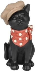 escultura gato BONIE resina preta 12,5cm Ilunato QC0452