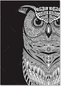 Pôster Emoldurado Dark Big Owl Fundo Preto em Madeira - Urban