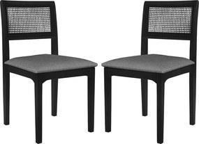 Kit 2 Cadeira Decorativa Sala de Jantar Nivea Ébano - Gran Belo