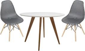 Conjunto Mesa Square Redonda 80cm + 2 Cadeiras Eiffeil Assento Colmeia Preto