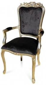Cadeira com Braço Luiz XV Entalhada Madeira Maciça Design de Luxo