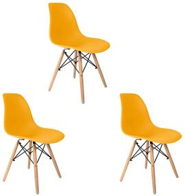 Conjunto 3 Cadeiras Eames Amarela Dsw - Empório Tiffany