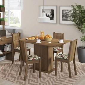 Conjunto Sala de Jantar Lexy Madesa Mesa Tampo de Madeira com 4 Cadeiras Rustic/Floral Hibiscos Cor:Rustic/Floral Hibiscos