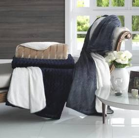 Manta Casal Fleece Dupla Face Arome Azul Marinho