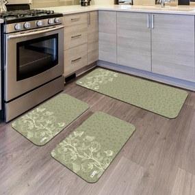Kit com 3 Tapetes de Cozinha Mdecore Floral VerdeÚnico