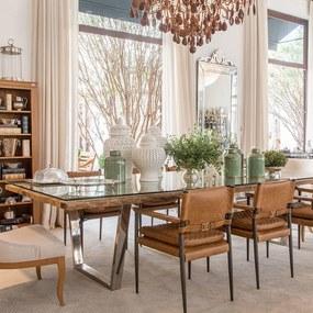 Mesa de Jantar Retangular com Tampo de Madeira e Aço Inox V Shape 3.00m x 1.20m