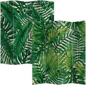 Biombo de Madeira com Estampa de Folhas