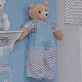 Urso Porta Fraldas Imperialle Chevron Azul