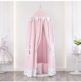 Tenda Dossel Branco e Rosa Floral Monet 2m Grão de