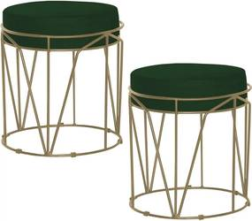 Kit 2 Puffs Decorativo Sala de Estar Base Gold Chloe Suede Verde - Gran Belo