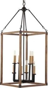 pendente lanterna TÚNICA 8xvela madeira bronze e marrom Bella KF002