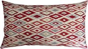 Capa almofada LYON Veludo estampado Losangos Vermelho 30x50cm