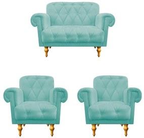 kit 02 Poltronas e  01 Namoradeira Decorativas Dani Suede Azul Tiffany - ADJ Decor