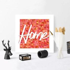 Kit 3 Quadros Decorativos MDF Geométrico Home Sweet Home Laranja25x25cm