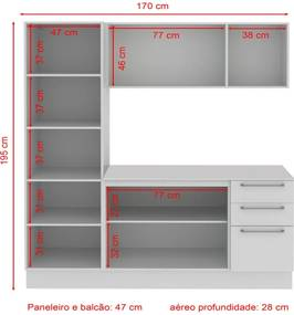 Cozinha Compacta Madesa Lara 3 Pçs - Branco/ Crema