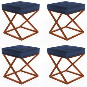Kit 4 Puffs Decorativos Tokyo Quadrado Base de Ferro Bronze Suede Azul Marinho
