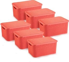 6 Caixas Organizadoras Rattan Grande Cor Coral 28x38,5x19 cm