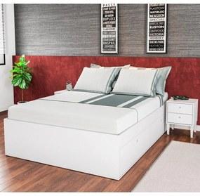 Cama Casal com Mesa de Cabeceira CJ014 Branco - Art in Móveis
